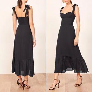 NWT REFORMATION Nikita Ruffle Midi Black Dress 6/M
